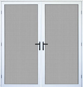 dual security doors with handles